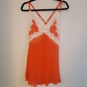 Silk Victoria's Secret Orange and White Lace